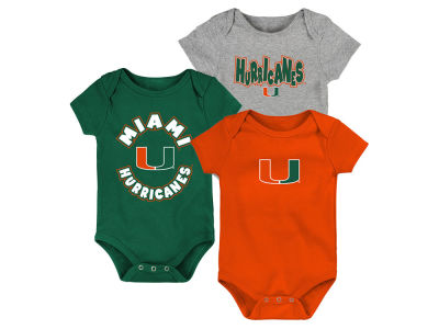 Miami Hurricanes Outerstuff NCAA Newborn Everyday Fan 3 Piece Creeper Set