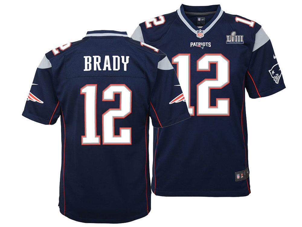 c1d631a56 New England Patriots Tom Brady Nike NFL Youth Super Bowl LIII Patch Jersey
