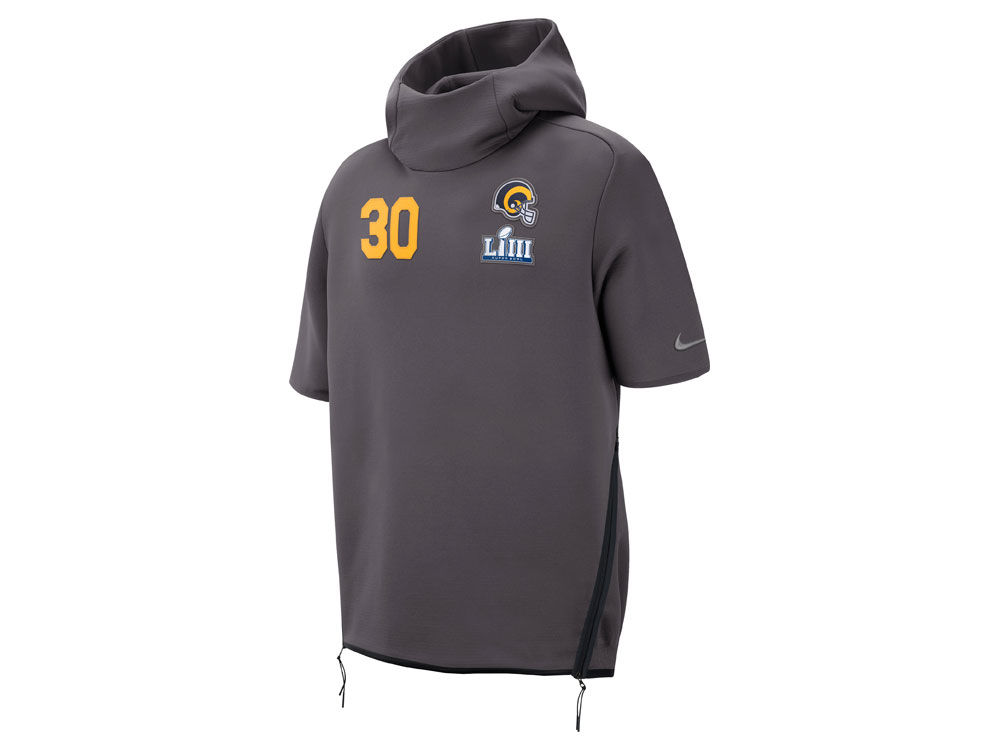 Los Angeles Rams Todd Gurley Nike NFL Men s Super Bowl LIII Bound Media Day  Therma Short Sleeve Player Hoodie  1e0d78fad