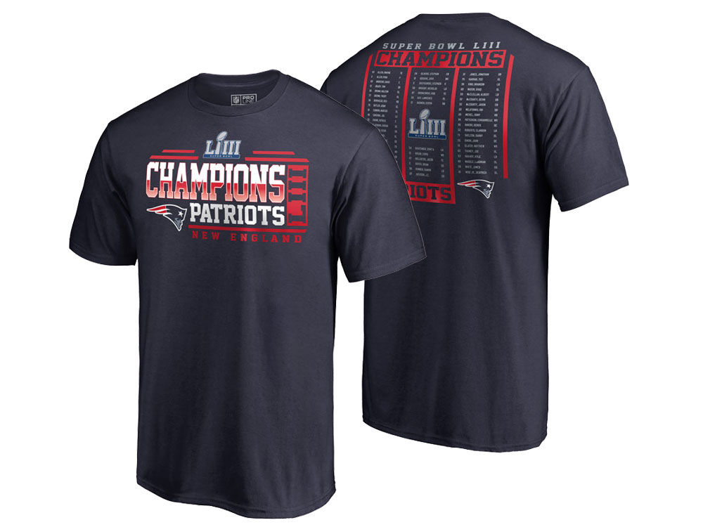 New England Patriots Majestic NFL Men s Super Bowl LIII Championship End  Zone Formation Roster T-Shirt  16a929532