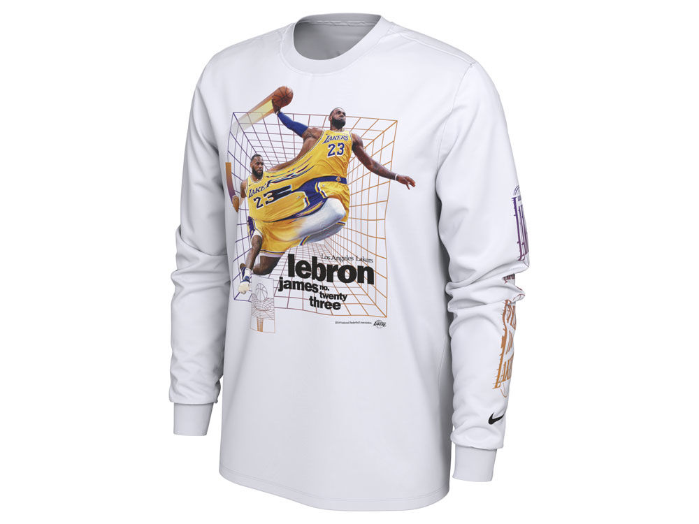 Los Angeles Lakers LeBron James Nike NBA Men s Time Warp Player Photo Long  Sleeve T-Shirt  71a7f1abf