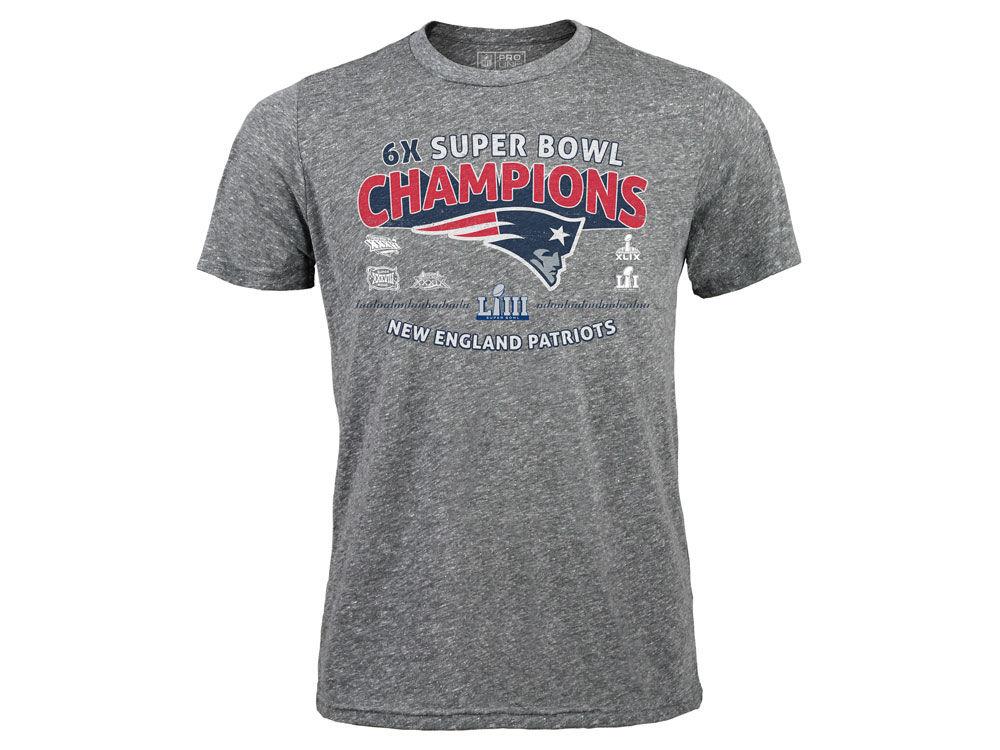 New England Patriots Majestic NFL Men s Super Bowl LIII Championship Sky  High Multi-Champ Tri-blend T-Shirt  5d8dc0321
