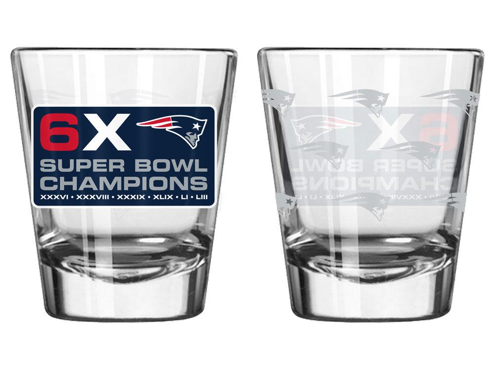 New England Patriots NFL 6x Super Bowl Champion 2oz Satin Etch Shotglass  e29109022