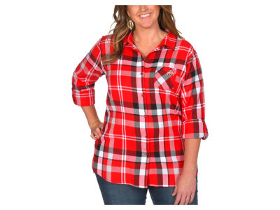 NCAA Women's Plus Size Flannel Boyfriend Plaid Button Up Shirt