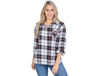 University Girl NCAA Women's Flannel Boyfriend Plaid Button Up Shirt